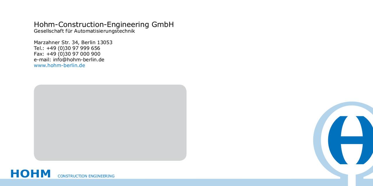 Briefumschlag - HOHM Construction-Engineering GmbH