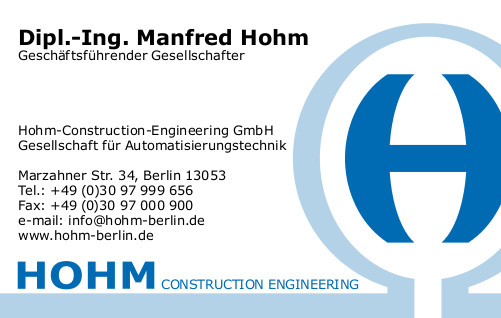 Visitenkarte - HOHM Construction-Engineering GmbH