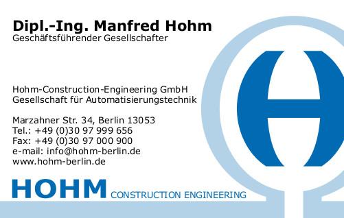 Visitenkarte - HOHM Construction-Engineering GmbH