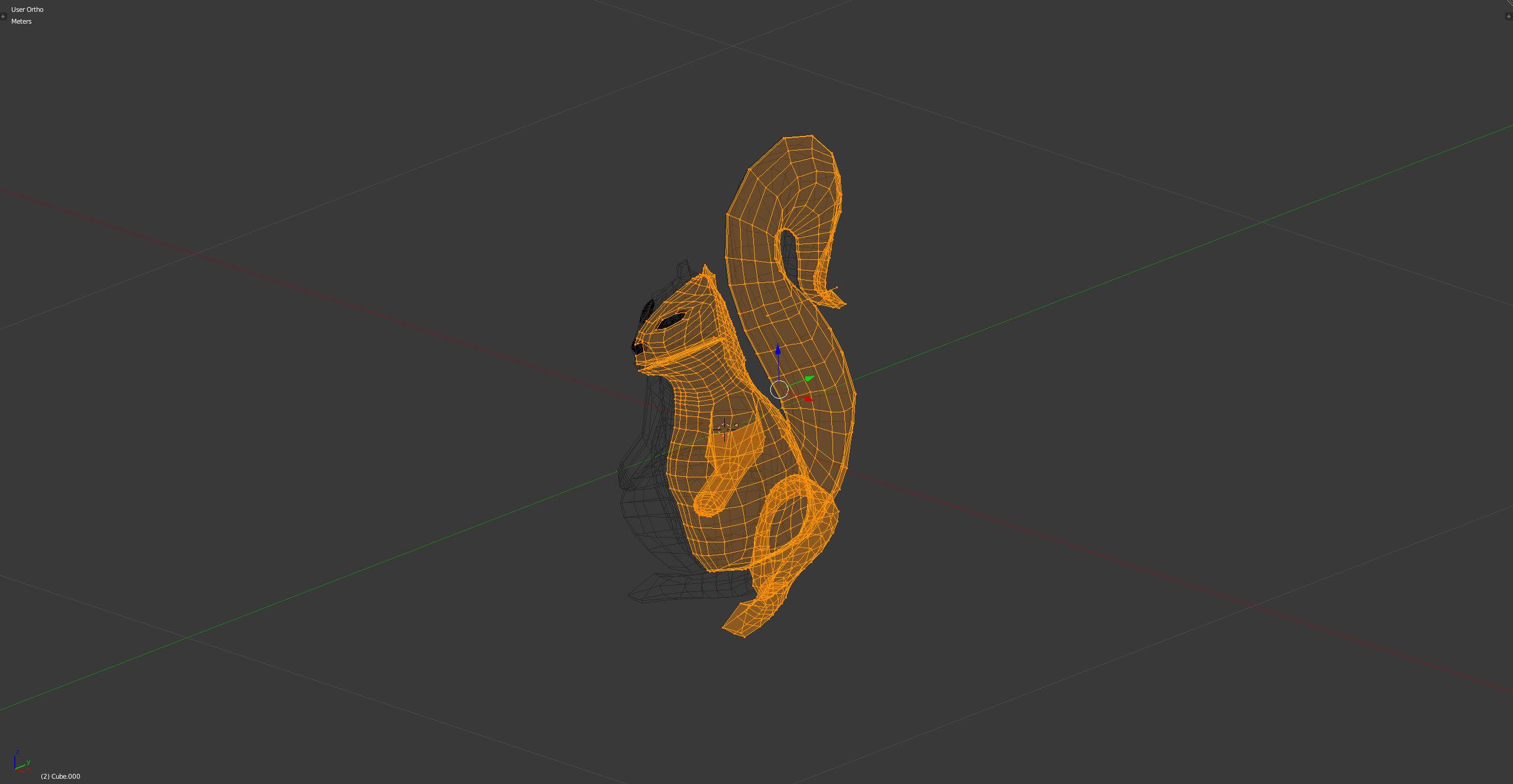 3D-Grafik Blender Wireframe - Eichhörnchen