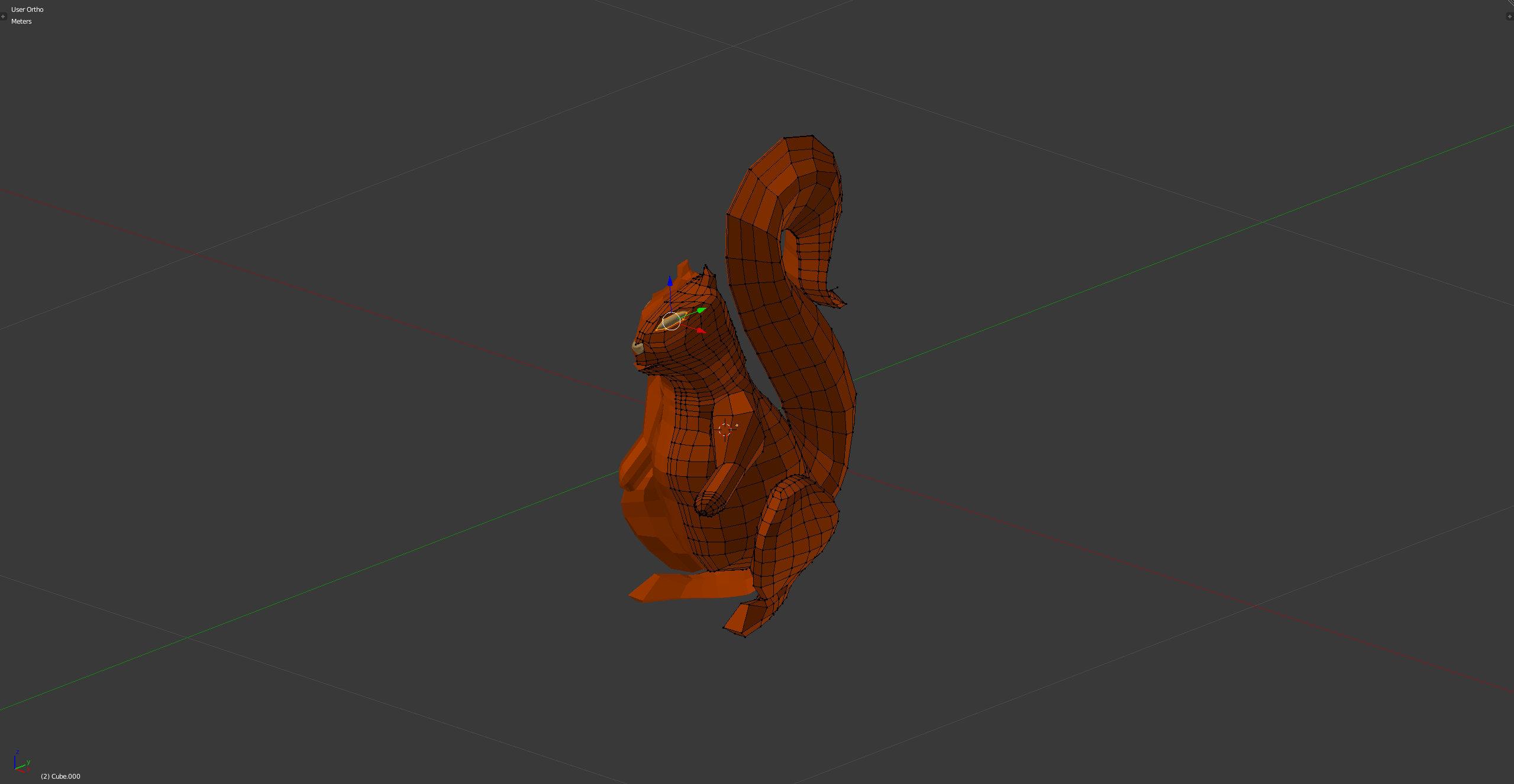 3D-Grafik Blender Wireframe solid - Eichhörnchen