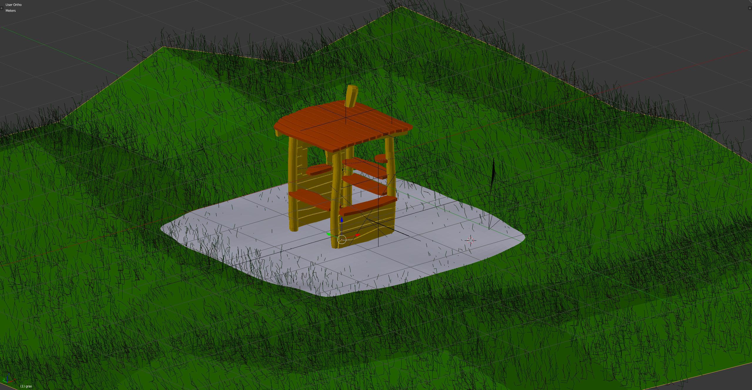 3D-Grafik Blender Wireframe - Holzhaus