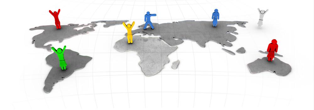3D-Grafik Blender - Männchen Weltkarte