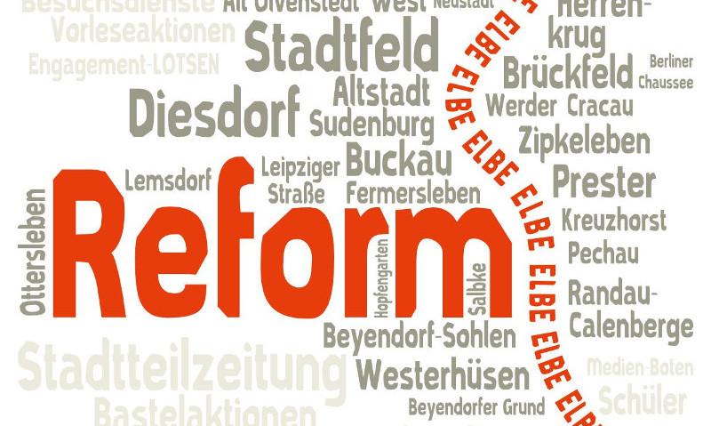 Postkarte Magdeburg Reform und andere Stadtteile - Vektorgrafik