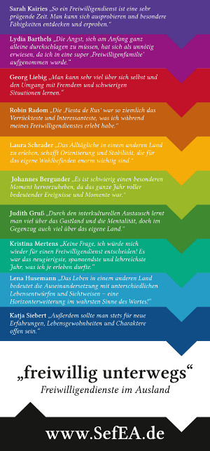 "Flyer SefEA - Info zu ""freiwillig unterwegs"""