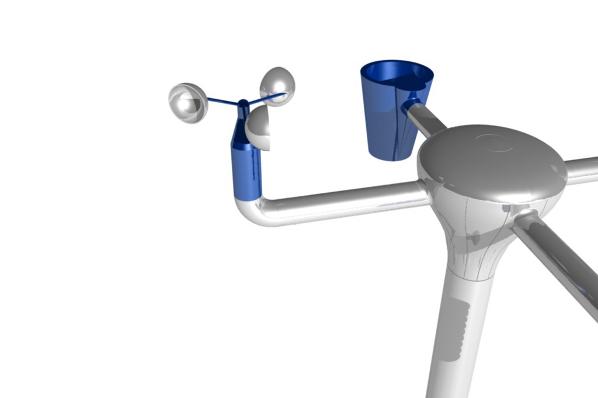 3D-Grafik - Wetterstation Anemometer und Pluviometer