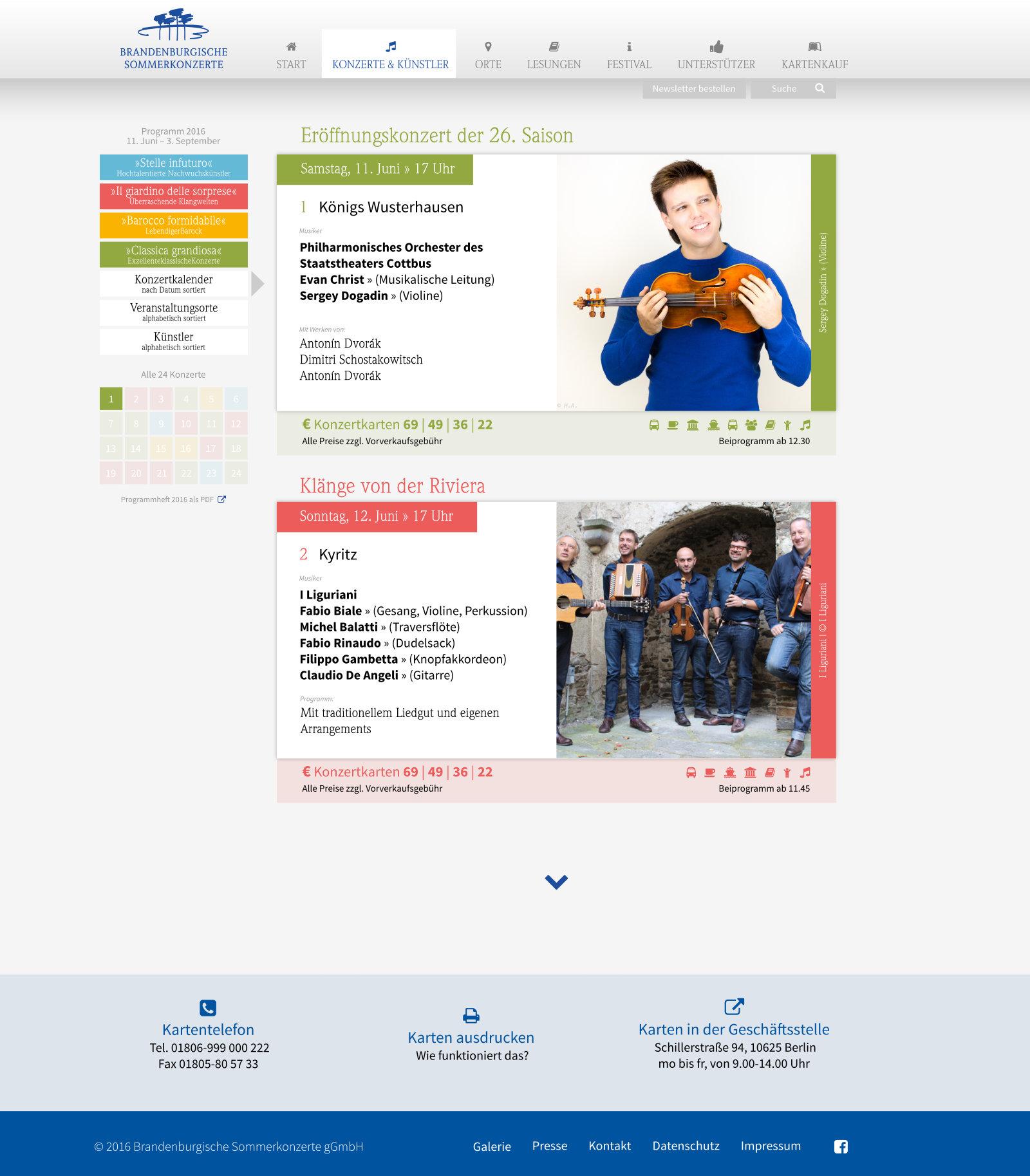 Webseitebsk – Rubrik Konzerte und Künstler