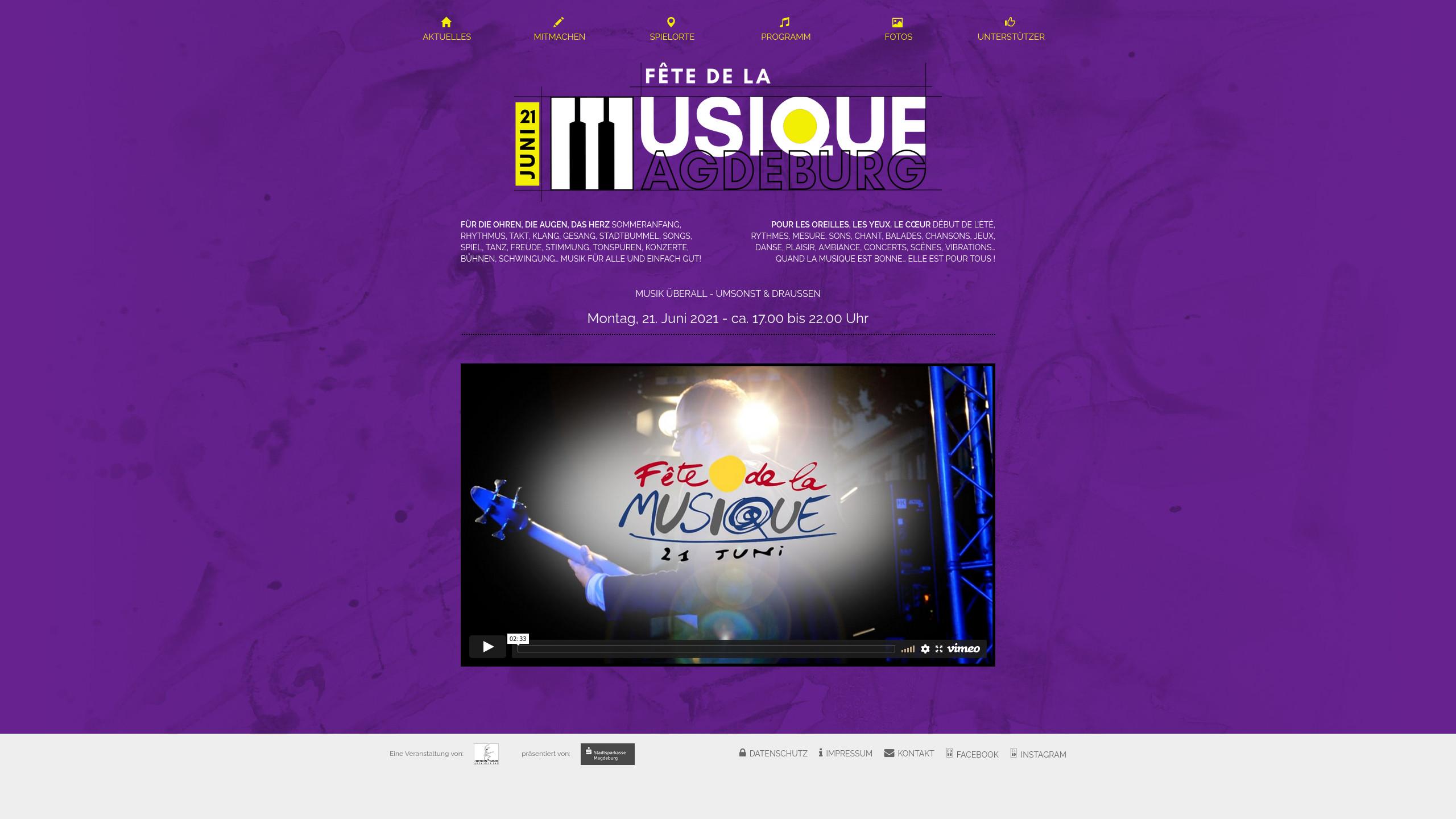 Webseite Startseite – Logo FdlM Magdeburg 2020