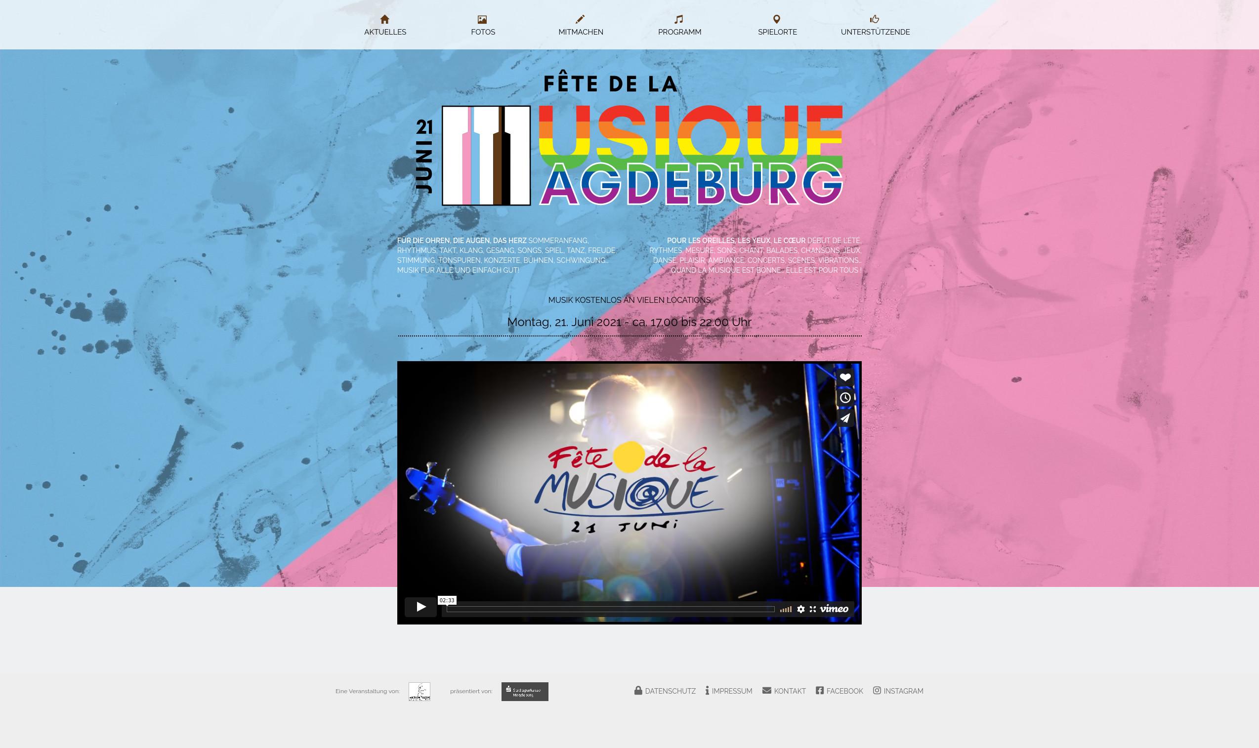 Webseite Startseite – Logo FdlM Magdeburg 2021